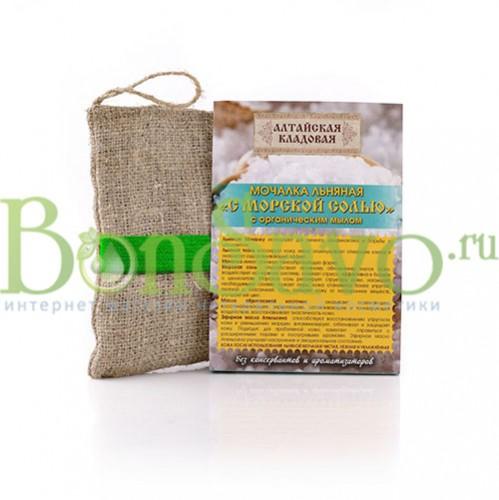Мочалка льняная с органическим мылом Морская соль