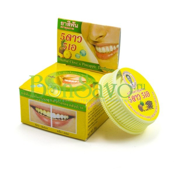 Травяная отбеливающая зубная паста с экстрактом Ананаса, 25 гр